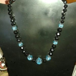 Vintage 1928 beaded necklace black and aqua